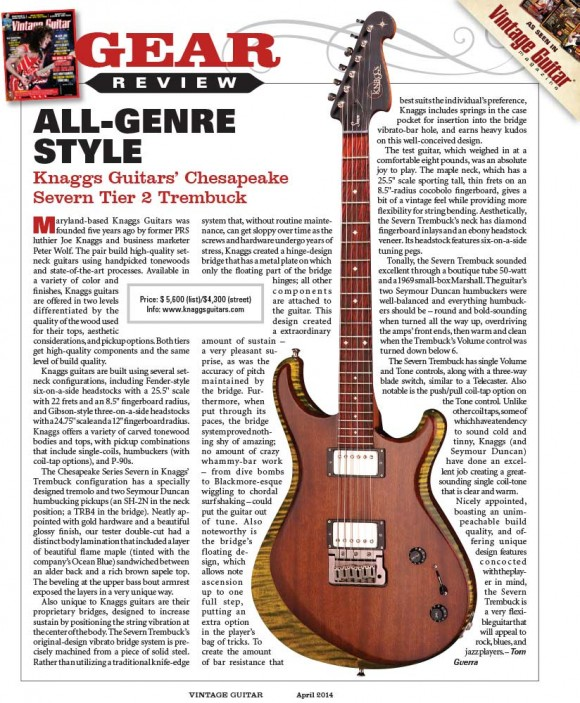 Vintage Guitar Magazine, April 2014 issue: Knaggs Guitars 'Severn Tier 2 Trembuck' review