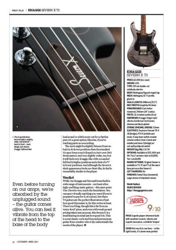 Knaggs Guitars Severn X T3 Trem HSS in Guitarist magazine # 418, March 2017 issue:
